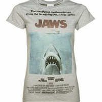 Women's Grey Jaws Movie Poster T-Shirt