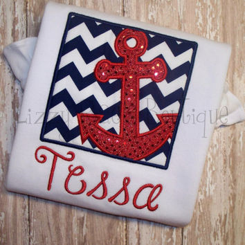 Anchor applique shirt- Navy chevron red sparkle anchor applique- Nautical applique shirt
