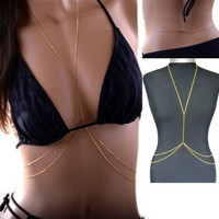1pc Gold Tone Cross Body Chain Bikini Beach Slave Harness Belt Belly Waist Necklace = 1652799876