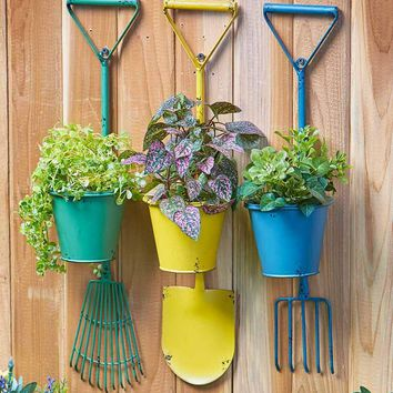 Rustic Country Hanging Wrought Iron Planter Shovel Rake Pitchfork Colorful