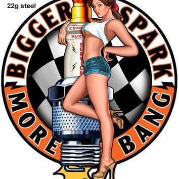 Champion Spark Plug Pin Up Girl Cut Out Sign By Steve McDonald 16x19
