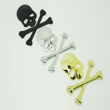 CREYUG3 3D Stickers Accessories Decal Skull Metal Skeleton Crossbones Car Motorcycle Sticker Cool Label Skull Emblem Badge Car Styling