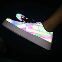 Nike Air Force 1 Chameleon Laser Fashion Women Men Casual Running Sport Shoes Sneakers
