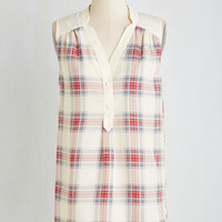 Vintage Inspired Mid-length Sleeveless Girl About Easton Tunic in Ivory Plaid by ModCloth