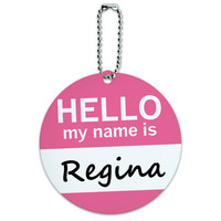 Regina Hello My Name Is Round ID Card Luggage Tag
