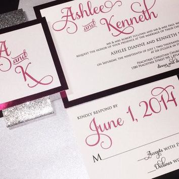 Silver Glitter and Pink Foil Wedding Invitation Set - ASHLEE VERSION
