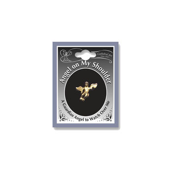 Gold-tone Angel on My Shoulder Lapel Pin - Perfect Religious Gift