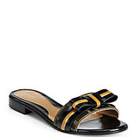 Fendi - Leather & Jacquard Canvas Slide Sandals - Saks Fifth Avenue Mobile