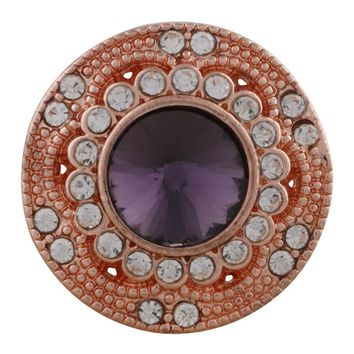 "Snap Charm Rose Gold Purple Stone Clear Crystals 21mm 3/4"" Diameter Standard Size Fits Ginger Snaps"