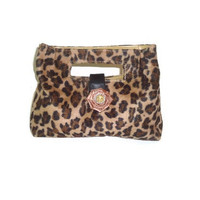 Womens Faux Fur Cheetah Print Clutch Purse