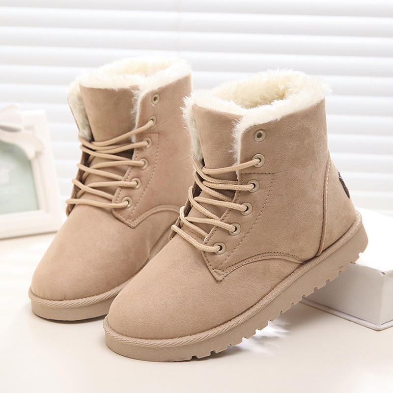 9893d69abcb6 2016 Winter Woman Boots Lace-up Solid Flat Ankle Boot Casual Round Toe Women  Snow Boot