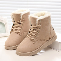 2016 Winter Woman Boots Lace-up Solid Flat Ankle Boot Casual Round Toe Women Snow Boots Fashion Warm Plus Cotton Shoes ST903