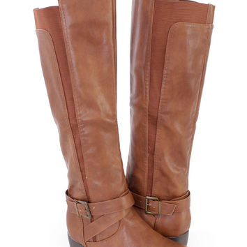 Cognac Knee High Riding Boots Faux Leather