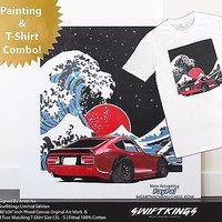 Datsun Fairladyz | The Great Drift Art 36x36 Large Wood Panel JDM T-Shirt Combo!