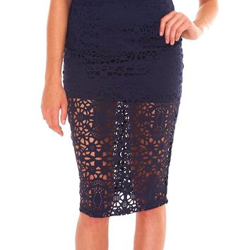 Too Beautiful Midi Pencil Skirt - Navy