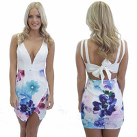 Summer V neck Plunge Bandage Bodycon Floral Mini Party Gown Dress  A_L CB036469 = 1658537028