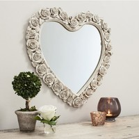 Roses Heart Mirror | French Rose Mirror | Heart Mirror
