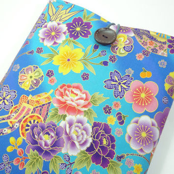 Gorgeous Fabric Macbook Sleeve, Unique gift Ideas, Padded Macbook Covers, Kimono Cotton Fabric Float Flowers Teal Blue