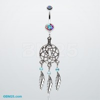 Classic Pewter Dream Catcher Belly Ring