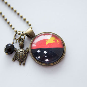 Flag of Papua New Guinea Necklace - Flag Necklace - World Flags - Custom Jewelry - Travel Necklace - Flag Jewelry South Pacific Oceania