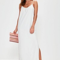 Missguided - White Cami Low Back Maxi Dress
