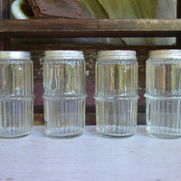 Vintage Spice Jars, Set of 4 Vintage Hoosier Glass Ribbed Spice Jars, Collectible Depression Jars,   -