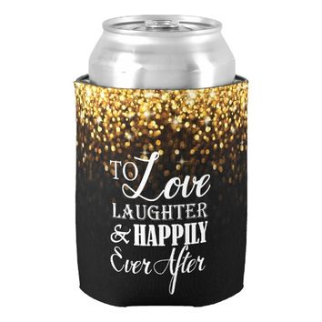 Gold Black Hollywood Glitz Glam Wedding Can Cooler