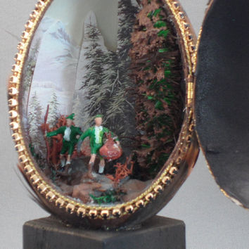 Hunting Scene with Turkey Feathers, Goose Egg Decorated w Turkey Feathers, Egg Ornament, Faberge Style Decorated Goose Egg
