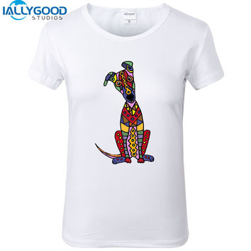 New Summer Colorful Funny Greyhound Dog Abstract Art T-Shirs Women Cute Short Sleeve White Tops Cotton Slim Women T Shirts S1142