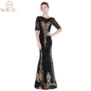 Walk Beside You Black Gold Prom Dresses Sequined Bling Mermaid Half Sleeves Evening Gowns Long Floor Length Vestidos De Prom