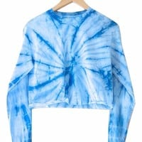 Sky Blue Tie-Dye Cropped Long Sleeve Unisex Tee