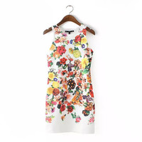 White Floral Print Sleeveless Bodycon Dress