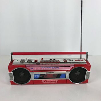 Vintage Sony CFS-V15 Portable Cassette Mini Boombox Jap Writing 80's Japan Red