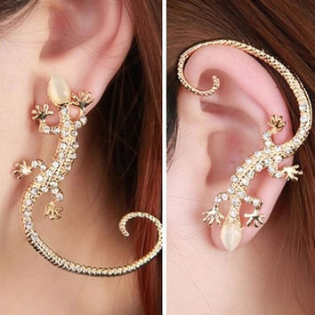 Trendy Rhinestones Inlaid Luxury Elegant Gecko Lizards Shaped Woman Earrings Silver Gold Plated Charming Jewelery EAR-0610