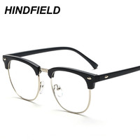 Women Square Eyeglasses Frame Optical Eyeglass Frames Brand Men Clear Lens Reading Fake Glasses Vintage Rivet Half Metal Eyewear