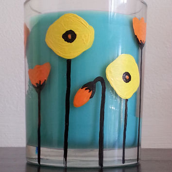 Tropical Breeze Candle, Hand Painted Glass, Orange and Yellow Flowers, Handpainted Poppies, Teal Home Decor, More Scents Available!