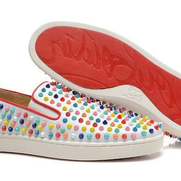 hcxx Christian Louboutin White with skittle studs