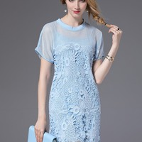Short Sleeve Lace Mini Dress with Lining - NOVASHE.com