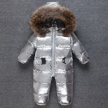 Silver baby winter Jumpsuit Romper kids warm Snowsuit racoon fur hooded overalls toddler costume duck down boy girl coveralls