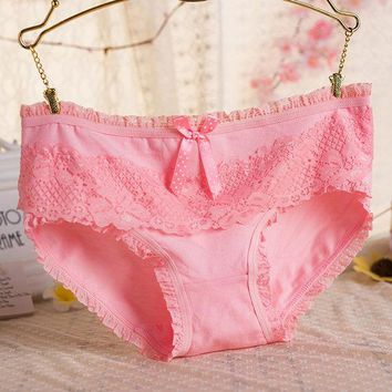 DCCKL3Z Wowen Lady Bow Panties Sexy Lingerie Cotton Briefs Lace Underwear Breathable Triangle Calcinha Thong