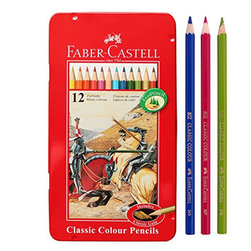 Faber Castell Classic Color Pencils Tin Case 12 Color School,Eco pencil for professionals include classic gold