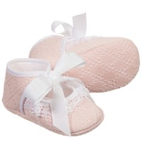 Baby Girls Pale Pink Cotton Pre-Walker Shoes