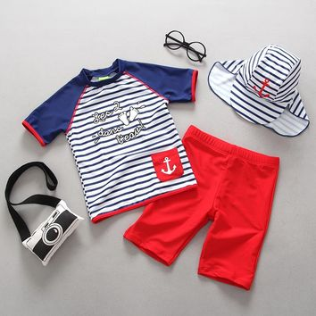 Child Swimwear Two Pieces Rash Guards Trunks Set Boys Swimsuits Kids Swimming Suit Beach Clothes Boy Sport Swimsuit Bathing Suit