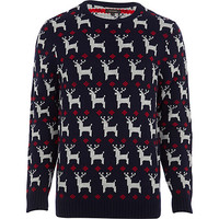 River Island MensNavy reindeer knitted Christmas sweater