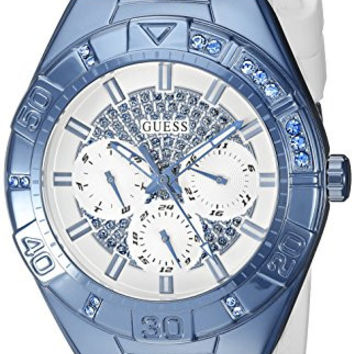 GUESS Women's U0653L2 Sporty White Silicone Watch with Sky Blue Accents and Multi-Function Dial
