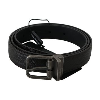 Dolce & Gabbana Brown Leather Gray Brushed Buckle Belt