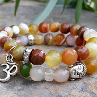 Set of 2 Bohemian Bracelet Set, Buddha, Om Bracelet, Gemstone Malas Womans Bracelet, Olive Green Agate, Reiki Charged, Yoga Stacking Malas