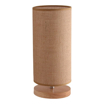 Light Accents Table Lamp Natural Wooden Base with Linen Shade