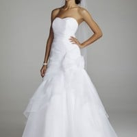 Organza A Line Gown with Floral Side Detail - David's Bridal - mobile