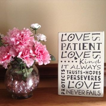 Rustic Distressed Shabby Chic Wood Sign, Inspirational Wall Sign, Love Is Patient, Love Is Kind, Love Never Fails Wood Plaque Home Decor